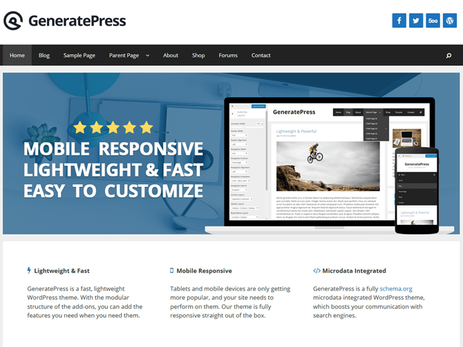 Tema WordPress GeneratePress