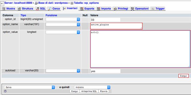 Come disattivare i plugin WordPress da phpMyAdmin