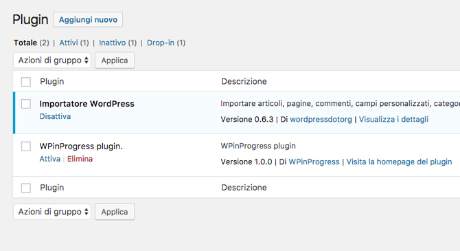 Lista plugin WordPress