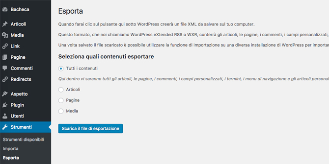 Come esportare contenuti WordPress