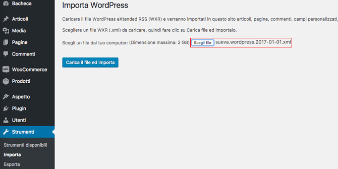 Come importare file export WordPress
