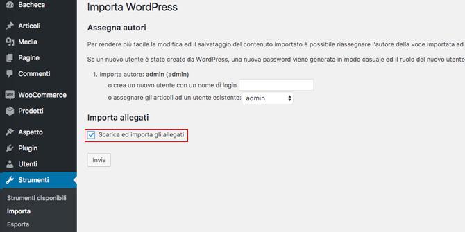 Completare importazione contenuti WordPress