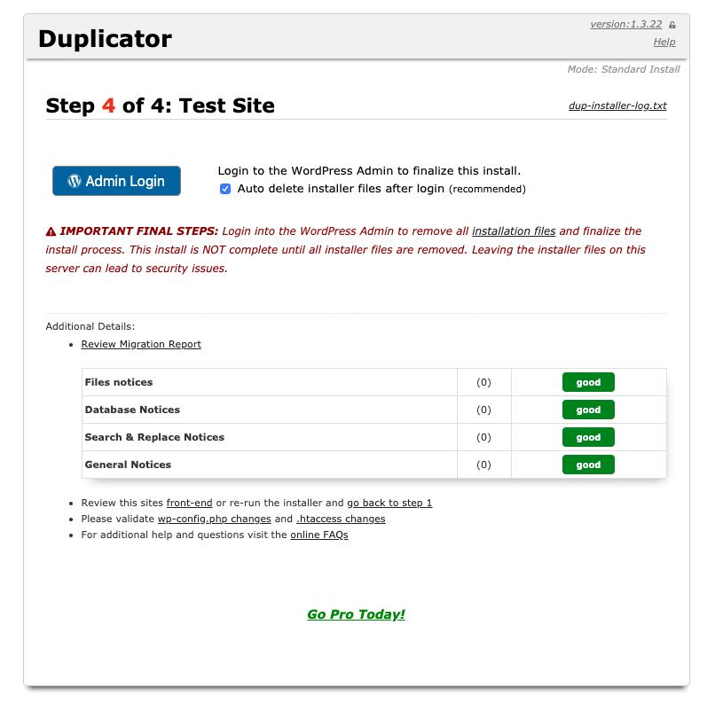 Installazione pacchetto, migrazione sito WordPress completata