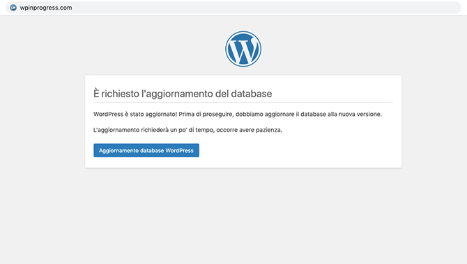 Aggiornamento database WordPress