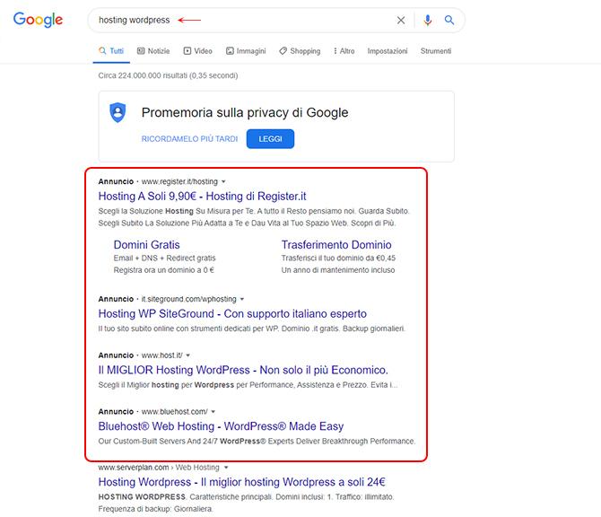 Esempio annuncio su Google ADS