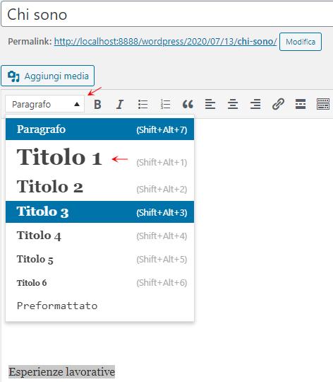 Formattazione contenuto WordPress